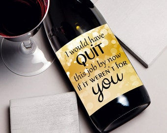 Coworker Christmas gift, wine label, gift for co-worker, wine bottle label, holiday office gifts, coworker gift ideas birthday Christmas