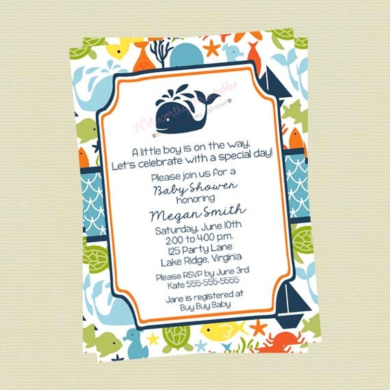 Under The Sea Baby Shower Invitations Sea Creature Baby