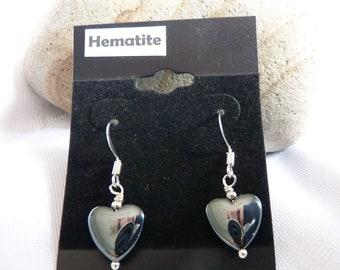 Hematite Heart Earrings 12mm Sterling Silver