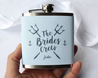 Wedding Hip Flasks For Bride and Bridesmaids Something Blue Nautical