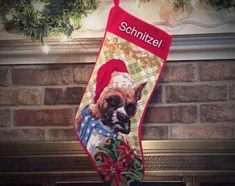 Boxer Needlepoint Christmas Stockings, Personalized Christmas stockings, Boxer, Dog stocking, Needlepoint stockings, Christmas stocking