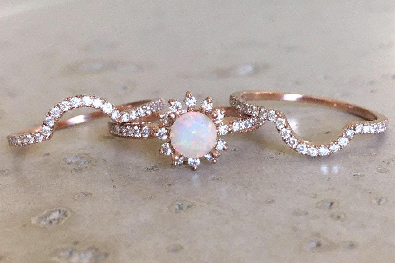 Rose Gold Opal Engagement Ring Set Genuine Opal Engagement
