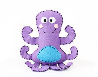 Octopus Stuffed Animal Pattern, Octopus Hand Sewing Pattern, Plush Octopus Sewing Pattern, Instant Download PDF, Under the Sea Theme Decor