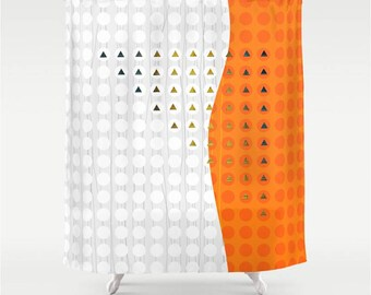 Orange and White Fabric Shower Curtain, Dot Tile and Triangle Modern Abstract Asymmetrical Mosaic Wave Shape Geometric Bathroom Decor