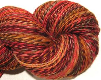 Handspun yarn, Fall Foliage 444 yards, DK weight, red orange brown gold, 2 ply,  Superwash BFL wool, Nylon, sock yarn, knitting supplies