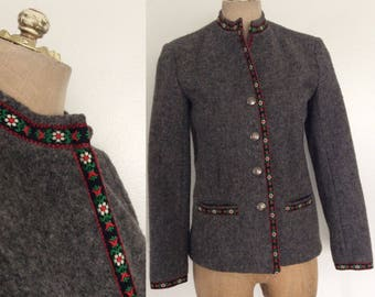 1970's Grey Wool Lanz Jacket Vintage Fitted Jacket Size Small Medium by Maeberry Vintage