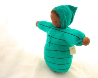 Waldorf doll // cloth doll // natural fiber brown baby // waldorf toy // cuddle doll // steiner doll // brown skin doll //  BST3
