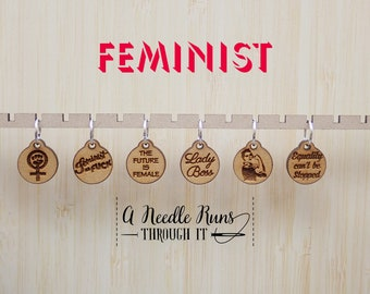 Feminist Stitch markers set, Girl Power, Stocking Stuffer, Rosie the riveter, the future is female stitch markers for knitting and crochet