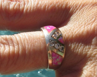 Pink Opal, Crystal and Sterling Band Ring Size 8.75