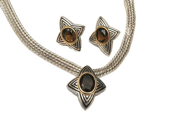 Avon Star Necklace earring set  amber brown glass  Star  silver and gold tone metal - pierced earrings