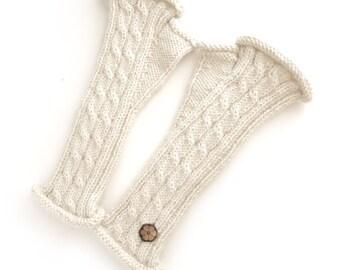 Mitaines torsadées blanches, 100% alpaga de couleur naturelle, faites à la main