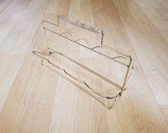 Brass Metal Wooden Handle Vintage Mail Letter Holder with Handle Folding Collapsing File Scalloped