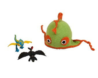 Dinosaur hat Dragon hat Green hat Child hat Baby hat  Crest hat Green dragon hat for 2-3 yo child