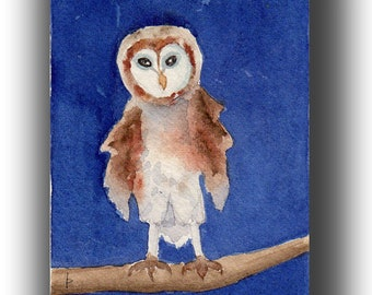 Baby Owl - original watercolor SFA matted and framed gift