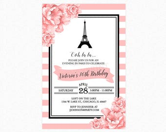 Paris Birthday Party Invitation, Sweet Sixteen Invitation, Eiffel Tower, Pink White Stripes, Personalized, Printable or Printed