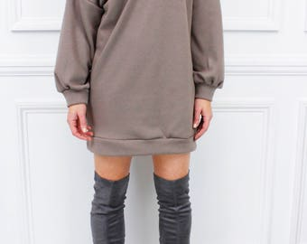 "Glamzam New Womens Ladies ""Eris"" Taupe Off Shoulder Long Sleeve Top Loose Jumper Sweater Sweatshirt Dress"