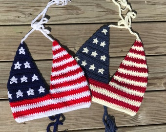 Deep-V Crochet American Flag/4th of July Top