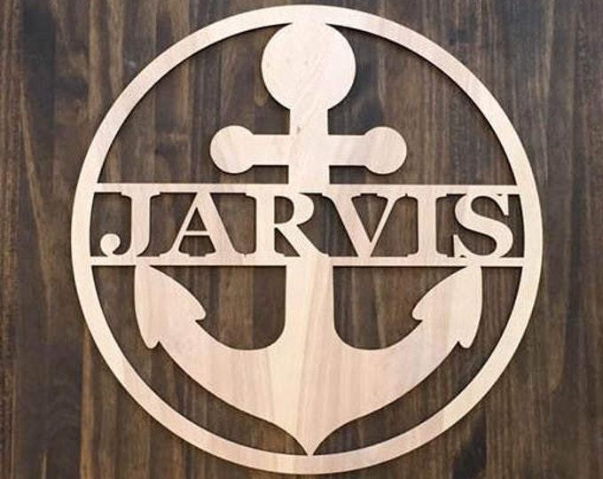 "12"" Wood Anchor Circle Shape Last Name Family Laser Cutout Custom Unfinished"