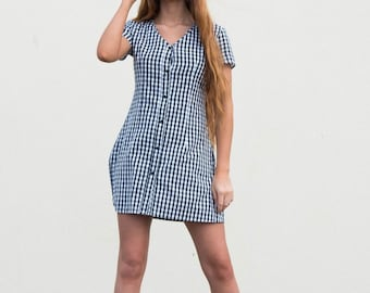 90s Black Gingham Mini Dress || Gingham Dress || 90s Plaid Dress || Black and White Gingham Dress || Gingham Mini Dress