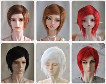 Simple BJD wig - Red White Black Brown - size Yosd, MSD, SD, 70+  faux fur