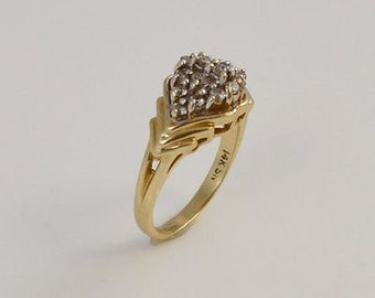 14k Yellow Gold Diamond Cluster Ring Size 6