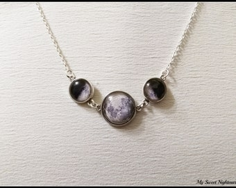 Triple moon necklace, triple goddess pendant, wiccan jewelry, witch necklace, witchcraft jewelry, pagan jewelry, silver half moon