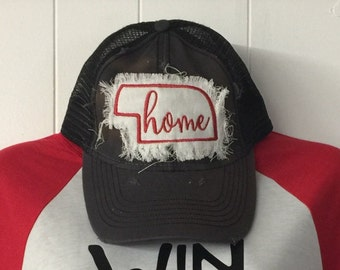 FREE shipping! Nebraska frayed distressed patch baseball cap