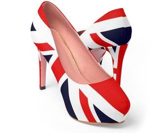 Union Jack Flag Women's  Platform Heels