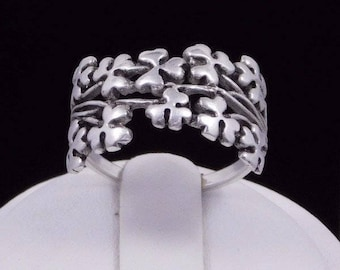 Irish Spray of Shamrock Sterling Silver Ring