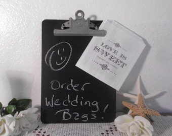 Chalkboard Clip Board Blackboard Back to School Office Supply Library Historical Wedding Reception Decoration Sign Photo Prop Chalk Black