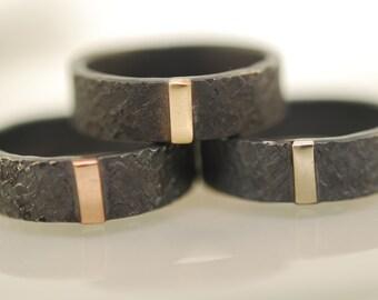 Mens Engagement Ring, Raw Silk Texture & 14 Karat Bar