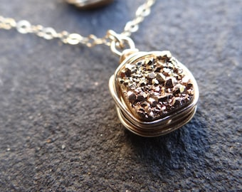 Gold Druzy Necklace Wire Wrapped Druzy Necklace Minimalist Necklace theloveleighlocket (Gold Filled)
