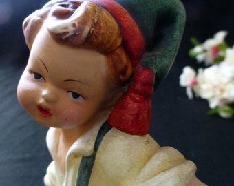 "Large 7.5"" Hummel Style Boy Musician Accordion Player Porcelain Figurine, German?"