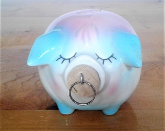 Vintage Hull Pottery Corky Pig Pink And Blue Piggy Bank 1957