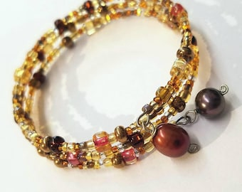 Golden Daze - Boho Gold and Brown Earth Tones Memory Wire Seed Bead Bracelet with Freshwater Pearls - Sparkle for Formal or Casual