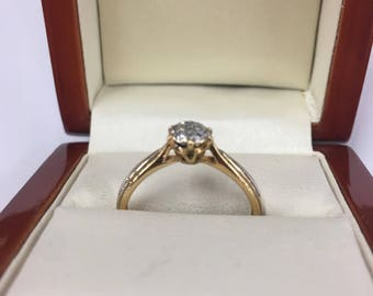 Vintage 1980s 9ct Yellow Gold Diamond Cluster Ring Size O