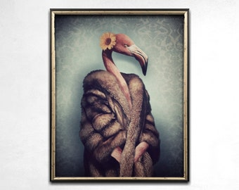 Flamingo Art, Flamingo Gift, Flamingo Print, Tropical Print, Quirky Art, Photo Prints, Funny Art, Anthropomorphic, Wall Art, Animal Art