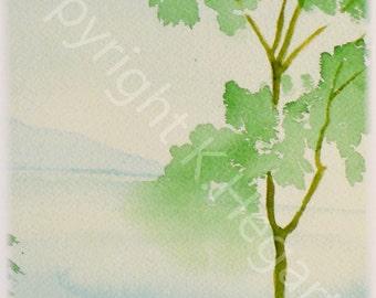 Watercolor -  Green Tree -  River  - 5x7