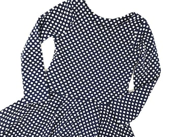 Toddler Twirl Dress - Polka Dots - Girls Navy Dress - Cotton Knit Play Spin Dress