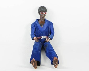 Vintage Ken Doll - Homemade Project - Blackface Ken 1970s - African American Afro Mustache Jumpsuit Shades - TLC Old Doll Novelty Weird