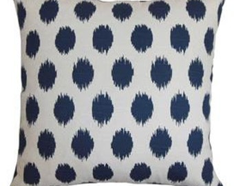 Indigo bluespots ikat pillow cover select your color and size