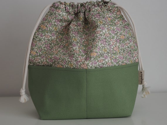 Green Liberty Print Pocketed Drawstring Bag