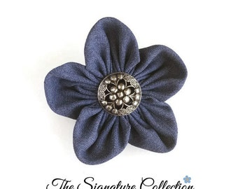 Forget Me Not Flower Lapel Pins - Blue Denim - Hair Accessories - Vintage Fabrics - Pins and Clips