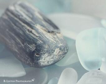 Beach Glass Photography - Alaska - Sea Glass - Blue Glass - Beach Glass - Fine Art Photography Print - Petrified Wood - Blue Gray Home Decor