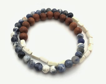 SALE - Hypoallergenic Sodalite and wood elastic wrap-around bracelet