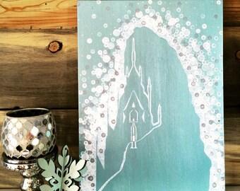 Frozen Castle Painting//Elsa's Castle//Frozen gift//Princess Castle