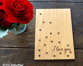 Valentines Day Card Personalized Wood Engraved I Love You Custom Card Valentine's Day Gift 5th Year Anniversary Wood Card
