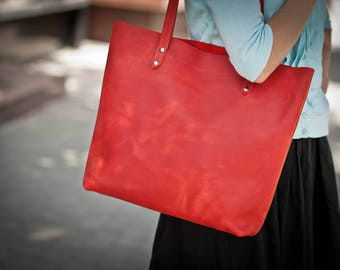 Leather tote bag leather totes leather handbag red leather