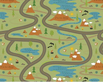 SALE CANVAS Road Light Green from J is for Jeep Boy for Riley Blake Designs - Cotton CANVAS - Play Mat Cars Mountains Auto Trucks Wilderness