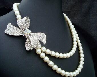 bridal pearl rhinestone necklace, Statement Bridal necklace, bow necklace, Wedding Rhinestone necklace, rhinestone bow necklace, ANASTASIA